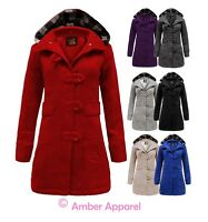 NEW WOMENS BUTTON HOODED BELTED FLEECE JACKET LADIES COAT TOP SIZES 8-20