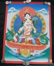 Mixed Gold White Tara Thangka Thanka painting Nepal Himalayan art