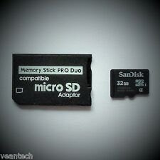 Memory Stick Pro Duo Adapter + SANDISK 32gb MICROSD SDHC per dispositivi SONY PSP NUOVO