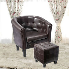 Leather Vintage Tub Club Barrel Armchair Room Seat Accent ArmChair w/Footstool
