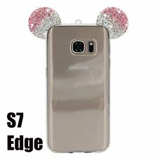 Samsung Galaxy S7 Edge - Pink Diamond Rhinestone Minnie Mouse Ears Rubber Case