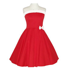 Rockabilly 50er Neckholder  Kleid Petticoat Pin Up Party Baumwolle S-M-L103 rot