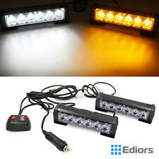 12 LED Car Truck Emergency Light Bar Hazard Strobe Warning White Amber Lamp 12v
