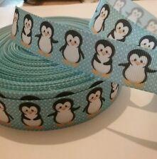 1m grosgrain ribbon 22mm blue with penguins Christmas winter scene penguin