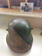 WW1 GERMAN CAMOUFLAGE STEEL HELMET WITH LINER ORIGINAL RARE MAKER K64