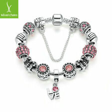 Fashion Women Love Heart Dangle Charm Bracelet with Pink Crystal Beads DIY Chain