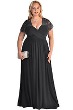 New Women's Black Red Lace Long Maxi Prom Evening Dress Plus Size 1X 2X 3X