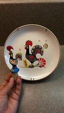 "ROOSTER ""O GALO DE BARCELOS"" HAND PAINTED BOTTLE CORK STOPPER & PLATE PORTUGAL"