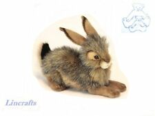 Crouching Jack Rabbit / Hare Plush Soft Toy Rabbit by Hansa. 6284