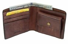 Men's Full Grain Vegetable Tanned Cow Leather Wallet With Coin Pocket Dark Brown