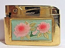 Vintage Queenstar Lighter,Beautiful Pink Glass Roses Design,Gold Plated, Japan
