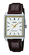 Casio MTP-V007L-7E2 Men's Rectangular leather Strap Silver Dial Dress Watch