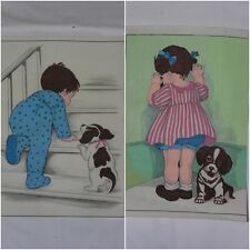 "Go Hide and Seek Toddlers with Puppy Painting on Felt Canvas 13"" X 9"" 9.5"" X 12"""