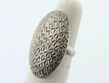Signed B Thailand 925 Sterling Silver Diamond Cut Long Oval Ring - Size 7