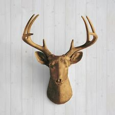 Wall Charmers Deer in Bronze Faux Head Fake Animal Resin Taxidermy Stag Antler
