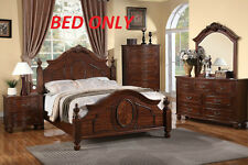 Stylish New Modern Bedroom Cal King Size Bed Cherry Wood Finish Furniture