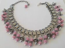 MIRIAM HASKELL SIGNED DANGLING GRAY PEARL & PINK BEAD BELL BOOKCHAIN NECKLACE