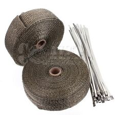 "2 Titanium Exhaust/Header Heat Wrap, 2"" x 50' Roll with Stainless Steel Ties NEW"