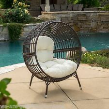 Outdoor Patio Furniture Multibrown Wicker Lounge Ball Chair w/ Cushion