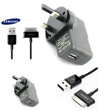 30 Pin Black USB Cable & UK 2A Charger for Samsung Galaxy Tablet Tab 2 GT-P1000