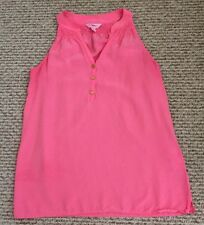 100% Silk Lilly Pulitzer Bailey Top Flamingo Pink XS Free Shipping