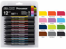 Winsor and Newton Letraset ProMarker Set (12 colours + Free Blender) - Set No.1