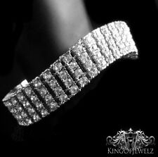 New Men's 14k White Gold Finish 4 Row Lab Diamond Simulated Tennis Bracelet 8.5""