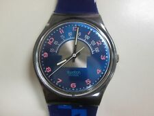 """VINTAGE 1990 """"BLUE TUNE"""" GX119 SWATCH W/ NEW BANDS (#378) FREE SHIP & BATTERY"""