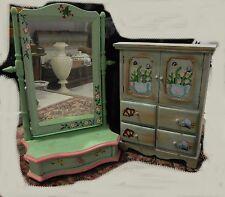 Lot meuble de Poupée, armoire de poupée, miroir psyche coiffeuse de poupee 45 cm