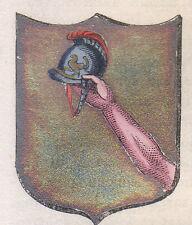 1865 Stemma di Piglio (araldica civica), Frosinone litografia acquarellata