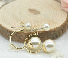 GOLD PLATED DOUBLE PEARL DROP STUD EARRINGS