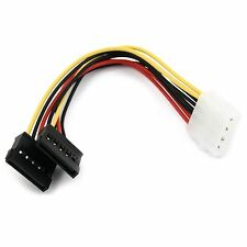 Adaptador de corriente cable serial ATA SATA 4 pin IDE MOLEX a 2 x 15 pin HDD Power