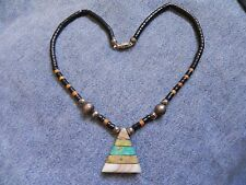 Jet & Wood beaded Necklace w Serpentine, Turquoise Inlay Pendant Santo Domingo