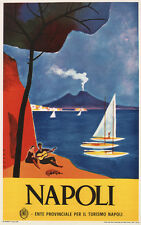 NAPOLI, Vintage Italian Travel Reproduction Rolled CANVAS PRINT 24x36 in.