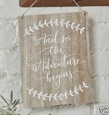 New Ginger Ray 'So The Adventure Begins' Wooden Wedding Sign Hanging Decoration