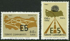 Turkey B122-B123,MI 2058-2059,MNH. Inter-European Express Highway, E5. Map,1967