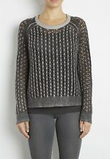 PRINTED CASHMERE CABLE PULLOVER INHABIT 100% CASHMERE New!