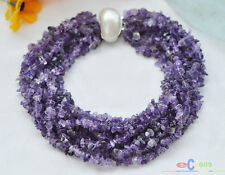 "S1410 10row 17"" nature purple amethyst detritus necklace mabe pearl clasp"