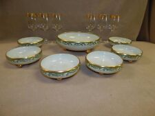 ANTIQUE T&V LIMOGES HAND PAINTED  ROUND FOOTED  CHINA BOWLS