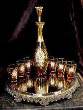 Vntge ORNATE HP APPLIED FLOWERSAmber Glass Decanter 6 Shot Glasses Murano ITALY