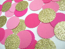 "Confetti 1"" Paper Circles Bright Pink Gold Wedding Birthday Party Decor"