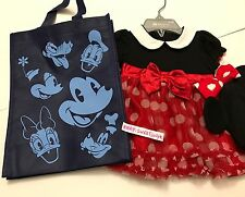 Disney Store Minnie Mouse Baby Party black red tutu Dress/ Hat with Ears 6-9 M