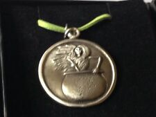 "Baba Yaga dr108 the wise o  Made From English Pewter On 18"" Green Cord Necklace"