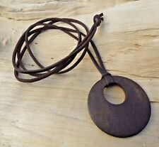 Wooden Disc Circle Pendant & Long Knotted Faux Leather Cord Necklace 85cm NEW