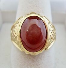 14K Yellow Gold Ring with 13mm A Grade Red JADEITE Jade  (9.5g, size 7.75)