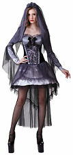 LADIES CORPSE BRIDE COSTUME HALLOWEEN FANCY DRESS GOTHIC ZOMBIE OUTFIT 12-14 NEW