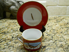 Lynn Chase Winter Game Birds Red JAPAN Cup and Saucer set FREE SHIPPING