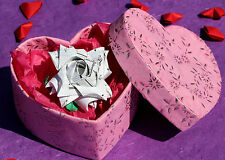Origami paper flower rose, heart box. Wedding anniversary, birthday gift present