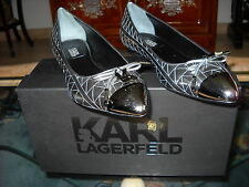 SOULIERS CHAUSSURES BALLERINES KARL LAGERFELD LIGNE KUILTED ARGENT SILVER T.38