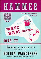 WEST HAM UNITED V BOLTON WANDERERS  FA CUP 8/1/77